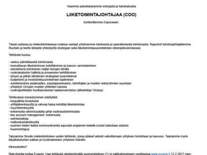 Etsimme Liiketoimintajohtajaa (COO) Espooseen